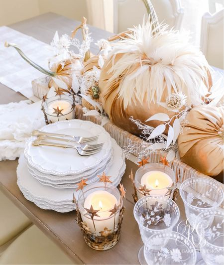 Fall dishes and candles with velvet pumpkins.   #LTKhome #LTKSeasonal #LTKstyletip