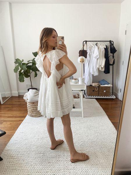 White mini dress under $100 (TTS)  Summer dress, beach dress, vacation outfit, nude quilted sandal  #LTKSeasonal #LTKtravel #LTKunder100