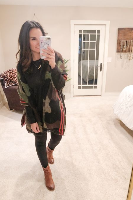 This 70 degree weather in November in MI is making my life impossible! 😆 This is what I wore today...and it was 70!!! 🤦🏻♀️ Totally fall vibes though. This camo blanket scarf is a favorite of mine, does leave a little lint on clothes but it's so pretty! I'm also loving the other colors and shades it comes in. This black long sleeve tshirt is the one I unboxed from @amazon yesterday, perfect with leggings!   #liketkit @liketoknow.it http://liketk.it/30OJU   You can instantly shop my looks by following me on the LIKEtoKNOW.it shopping app