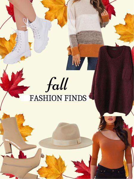 Fall fashion finds   #sweaters #colorblock #oversized #bodysuit #felthat #blockheel #ankleboots   #LTKSeasonal #LTKstyletip #LTKunder50