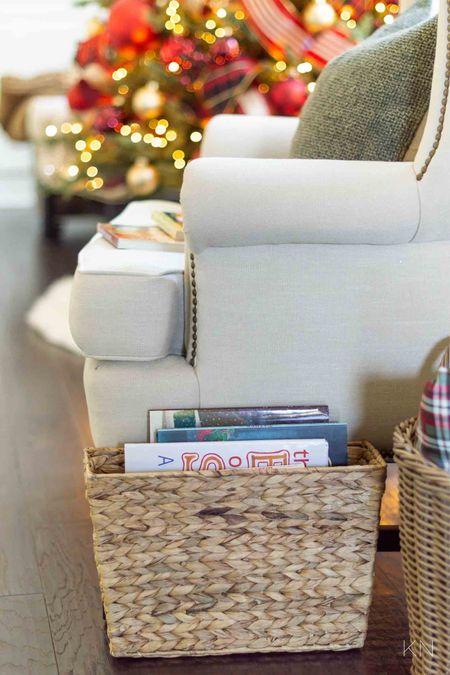 This woven file storage bin is the perfect storage solution for Christmas books! File storage book storage organization idea Christmas prep Christmas storage Walmart find  #LTKSeasonal #LTKHoliday #LTKunder50