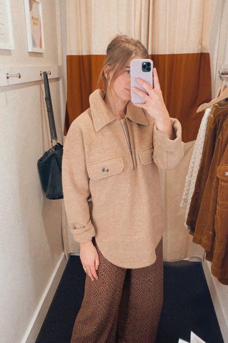 Madewell fall new arrivals, pullover jacket, half-zip pullover - has an oversized fit, wearing an XS (my true size)   #LTKSeasonal #LTKtravel #LTKstyletip