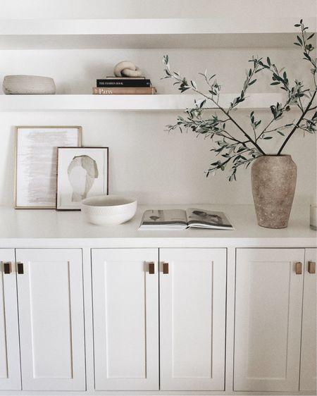 shelf decor styling and my favorite faux olive branches http://liketk.it/2XuaV #liketkit @liketoknow.it #StayHomeWithLTK #LTKhome #shelf #decor #fauxolivebranch