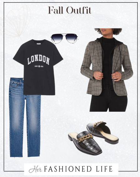 Fall outfit, everyday outfit, blazer, chain mules, London tee Herfashionedlife   #LTKGiftGuide #LTKunder100 #LTKstyletip