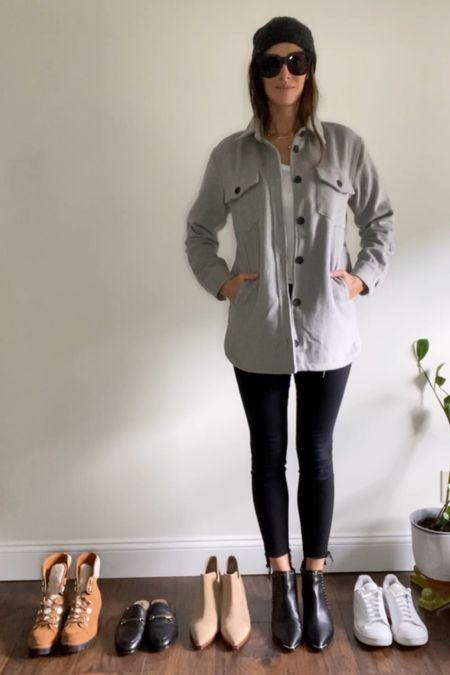 Cozy grey shirt jacket / shacket under $25   #LTKSeasonal #LTKunder50 #LTKstyletip