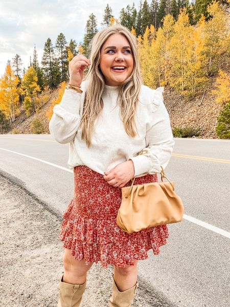 Amazon sweater xxl. On sale smocked skirt in xxl. Fall outfit plus size. Vince Camuto boots    #LTKcurves #LTKunder100 #LTKSeasonal