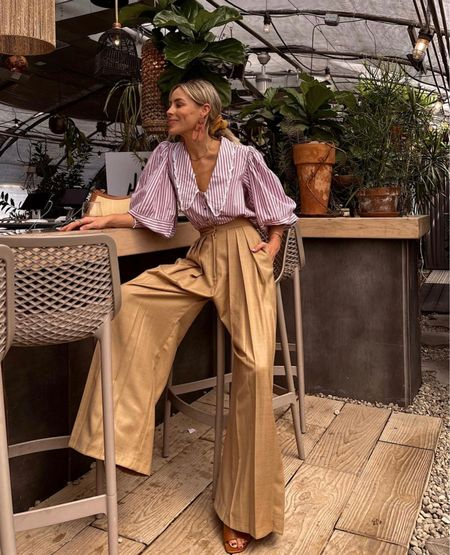 Dramatic trousers with a fun blouse✨  #LTKstyletip #LTKworkwear #LTKSeasonal