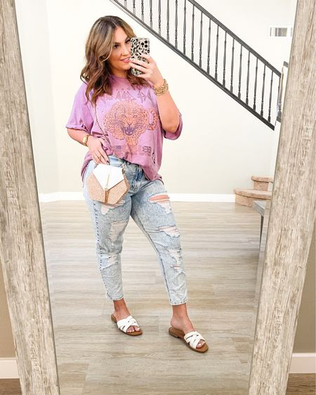 Casual Sunday outfit. Urban outfitters band tee, Target stretchy jeans and summer sandals http://liketk.it/3gZW8 #liketkit @liketoknow.it