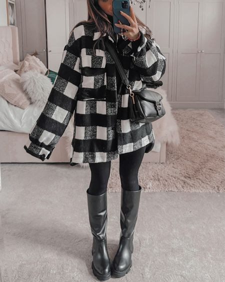 Autumn outfit ideas🍂  Black zip sweateR Check shacket  Ribbed leggings Knee boots Chloe tabby pillow   BETH for 40% off misspap  #LTKstyletip #LTKeurope #LTKSeasonal
