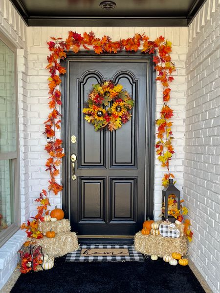 Front porch Fall decor all from @Walmart! Found the cutest wreath, garland hay bales, rug and mat! #ad @walmarthome   #LTKHoliday #LTKhome #LTKSeasonal
