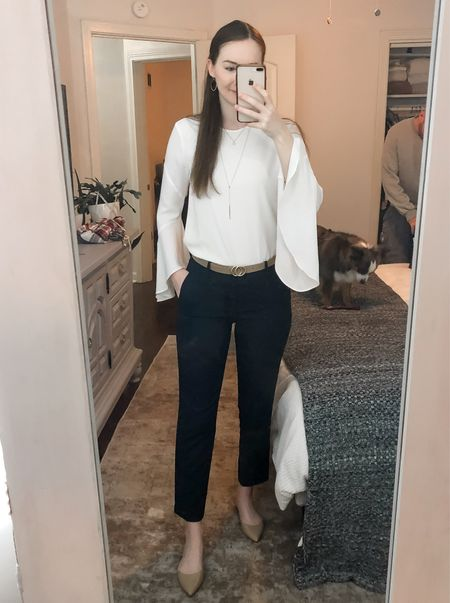 Business casual, work wear Friday, office style, real estate agent, realtor outfit, wear to work, white bell sleeve top, navy work pants, tan flats  #LTKworkwear