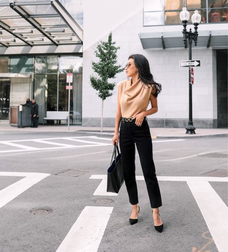 fall work outfits // how to style slim jeans for petites   •Sweater top xxs (has shoulder pads) •high waisted black slim jeans  size 00 short (perfect length and leg cut, note there is a bit of a waist gap on me) •EP belt •Mansur Gavriel tote  #petite  #LTKworkwear #LTKSeasonal