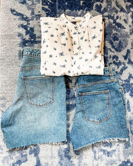 Target style Finds. Women's long sleeve floral blouse, jean shorts, and Bermuda jean shorts. Everything is under $20!!   #LTKSeasonal #LTKunder50 #LTKsalealert