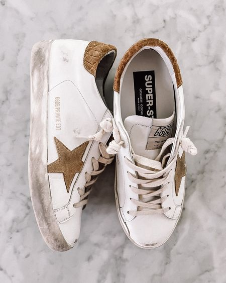 My absolute favorite pair of golden goose sneakers! They go with everything! The pair linked are exact, but the online image looks more orange. In person they look like my image featured.   #LTKstyletip #LTKshoecrush