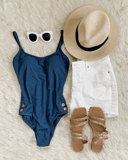 Anyone else still in summer mode…  Or just me? Sorry but I'm not ready to let go of the sun just yet! ☀️😎  I scooped up this $19 Walmart one piece swimsuit and it's another win. Comfy, classic, textured fabric in a pretty shade of blue (like a dark denim blue) with copper button details! I got the medium, fits great.   Linked in bio! http://liketk.it/3kpaw #liketkit @liketoknow.it #LTKswim #LTKunder50 #momstyle #wearthesuit #swimsuitseason #summertime #flatlay #walmartfashion