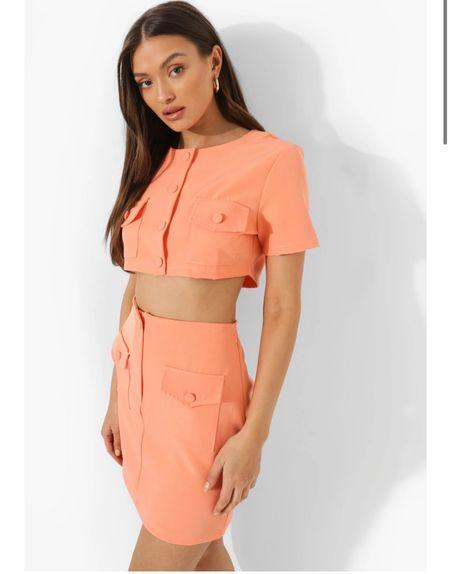 Cropped Pocket Detail Blazer & Mini Skirt Suit Set - zara two piece - zara crop top - zara pink set - tailored co-ord- tailored coord - button up top - button up skirt - tailored skirt - tailored two piece - tailoring - crop top   #LTKeurope #LTKunder50 #LTKsalealert