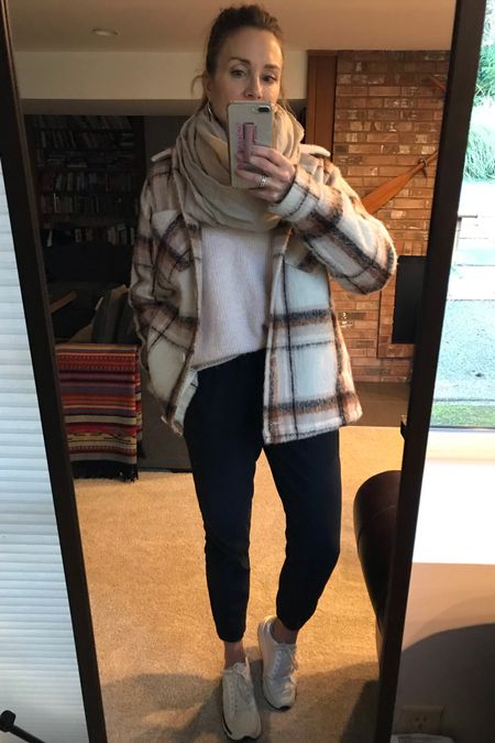 Shacket comes in two colors (wearing S),  with black joggers & sneakers casual outfit!  http://liketk.it/31R8k #liketkit @liketoknow.it #LTKunder50 #LTKsalealert #LTKgiftspo     Fall jacket  Plaid jacket  Winter coat  Winter outfit  Gift for her Gift ideas Sale jacket  Hollister Athleta Evereve  Blogger favorite