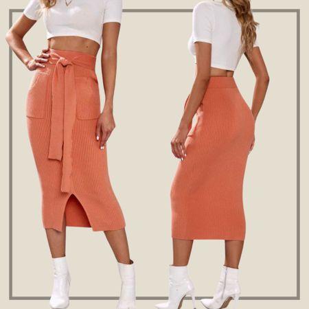 Tie front split hem sweater pencil skirt  #LTKstyletip #LTKunder50