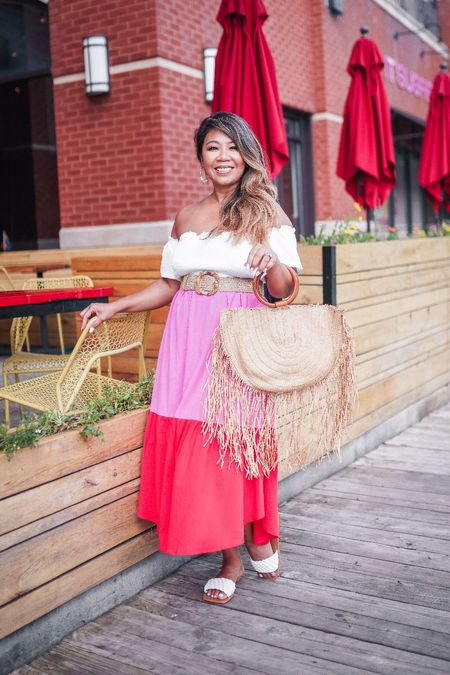 colorblock dress for any summer event.  dress down with sandals or white sneakers or up with wedges or heels. shein haul, wicker bag, fringe bag, woven sandals, smock top, summer dress, summer outfit, summer trend, off off-the-shoulder dress, summer dress inspo, summer ootd, summer fashion, summer style  #LTKstyletip #LTKunder50 #LTKunder100
