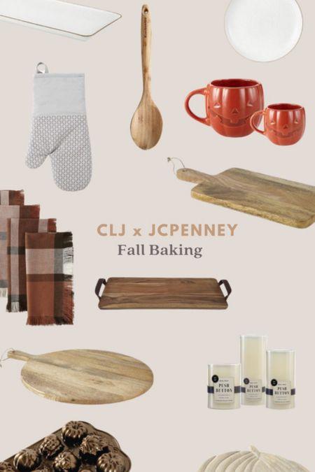 JCPenney Fall Serveware, Wood Serve Board, Pumpkin Mug, Plaid Napkins  #LTKhome