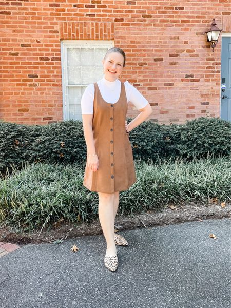 Button front fall dress with pockets from Loft. Runs big so definitely size down one if you're in between. Wearing a Petite XS.  #LTKstyletip #LTKunder100 #LTKSeasonal