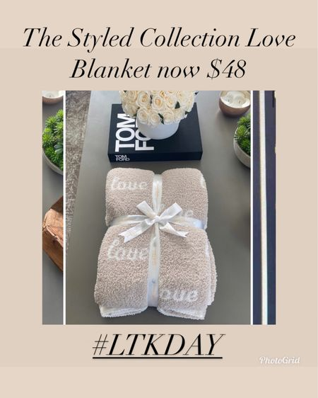 The styled collection love blanket now under $50!    #LTKwedding #LTKhome #LTKsalealert #liketkit @liketoknow.it http://liketk.it/3hxcz    Anniversary gift  Housewarming gift  Wedding gift  Bridal shower gift  Bachelorette party gift  Gifts for bride  Home decor  Cozy blanket  Barefoot dreams dupe