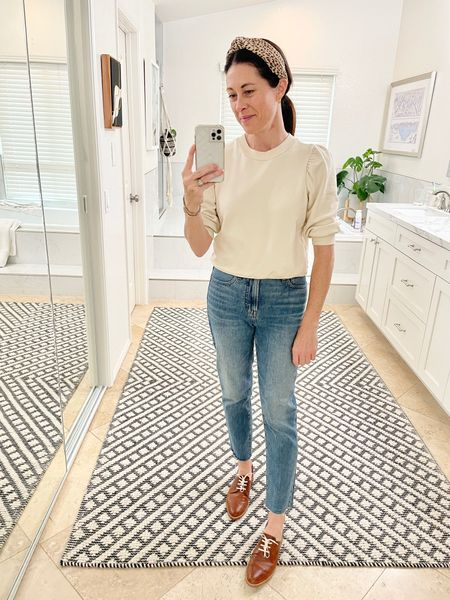 Sweater linked a very similar option from @cuyana - tts Jeans - vintage straight ankle from @madewell - tts Shoes - Freda Salvador tts