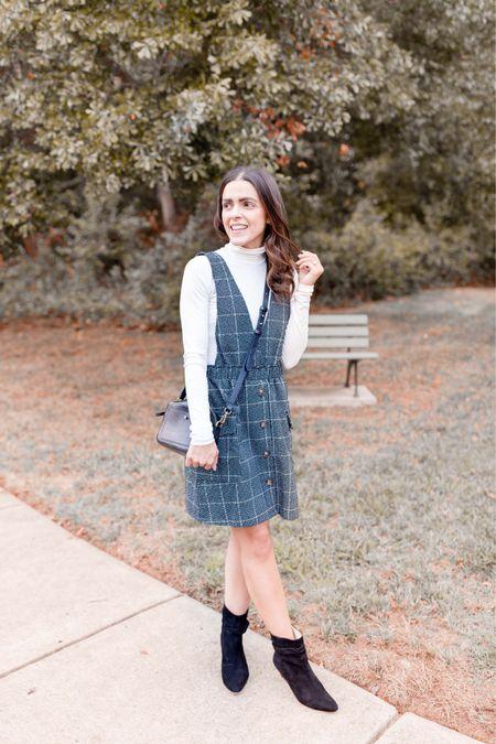 One of my favorite outfits for Fall - turtleneck bodysuit, plaid dress, scrunch booties, black crossbody bag, Shop the Mint Julep  #LTKunder100 #LTKunder50 #LTKstyletip