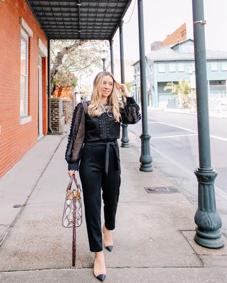 Sharing some work wear inspo!!! Love these tappered pants and this blouse for my working ladies 💁🏼♀️👩🏼💻❤️ #liketkit @liketoknow.it http://liketk.it/39c3M #LTKshoecrush #LTKworkwear #LTKstyletip