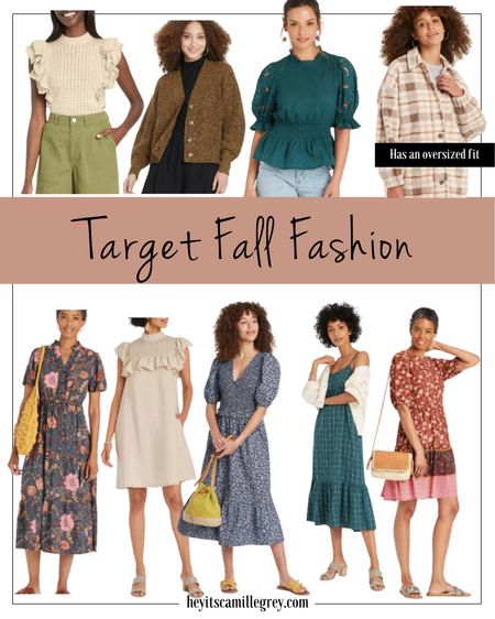 Target fall fashion - sweaters, dresses, cardigans and shackets. The shacket has an oversized fit so no need to size up! I am loving the pops of blue everywhere.   #LTKunder50 #LTKstyletip #LTKunder100