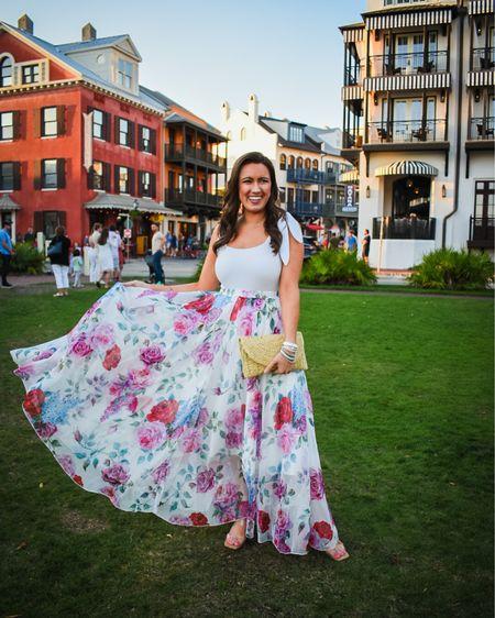 The cutest maxi skirt that is the perfect summer wedding guest look 💕🌸 @liketoknow.it http://liketk.it/3gmHZ #liketkit #LTKwedding #LTKunder50 #LTKunder100