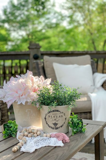 Pretty Patio Vibes🌿🌸💕 with All-Weather Wicker Patio furniture, cozy throws and pillows. If you're looking for the supplies for the terra-cotta pot diys, you can find that in the link in my Instagram bio @Rouseinthe_house under Paint and Stencils. 🤗🌸  http://liketk.it/3g2GE #liketkit @liketoknow.it.home @liketoknow.it.family @liketoknow.it Shop my daily looks by following me on the LIKEtoKNOW.it shopping app #LTKhome #LTKsalealert