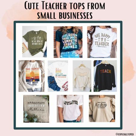 Is there anything better than a cute teacher tee + supporting small businesses? No! The answer is no ❤️  #LTKworkwear #LTKstyletip #LTKunder50