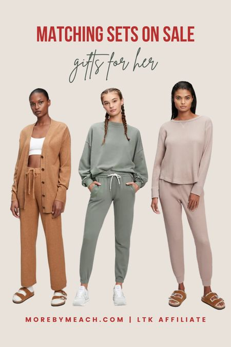 Christmas Gift Ideas for Her - Matching Lounge Sets! All are on sale for 30% off today with code YOURS. Petite lounge sets and tall lounge sets are available. LOTS more colors, too. Click to shop! || jogger set, waffle knit shirt, waffle knit joggers, camel cardigan, long cardigan, sage green sweatshirt, sage green sweatpants, petite lounge pants, petite joggers, waffle knit joggers  #LTKsalealert #LTKSeasonal #LTKGiftGuide
