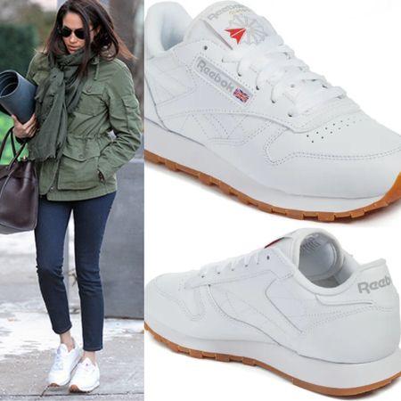 Meghan wearing Reebok classic sneakers #athletic #shoes #tennisshoes #adidas #reebok #vintage #fitness #workout  #LTKfit #LTKshoecrush #LTKstyletip