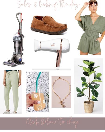 Sales & links of the day! Dyson vacuum is 50% off, men's ugg slipper dupes are 70% off ans under $12, cutest summer romper, T3 blow dryer is 70% off, Lululemon joggers in lots of colors is discounted, love these happy face glasses, my adorable initial necklace & the studio McGee fiddle fig is back in stock in both the 5 ft & 3ft sizes (under $45) http://liketk.it/3hGCq #liketkit @liketoknow.it #LTKsalealert #LTKhome #LTKunder100