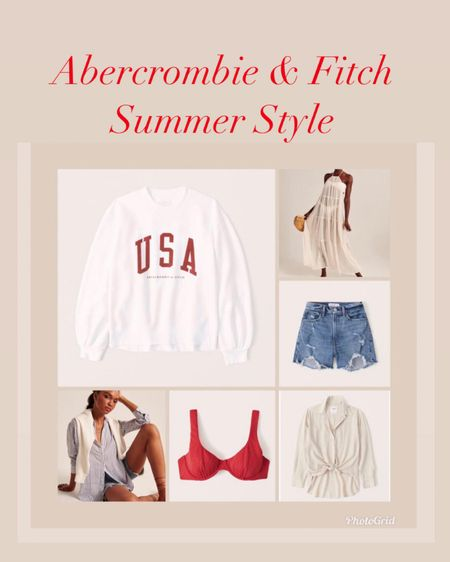 Abercrombie and Fitch summer styles on sale 20% off    #LTKunder100 #LTKsalealert #ltkday   #liketkit @liketoknow.it http://liketk.it/3htLv    Abercrombie and Fitch  Spring style  Dresses  Spring dresses  Summer style  Vacation style  Jean shorts  Mom shorts  Denim shorts Bathing suits  Swimsuit Cover up  Swimsuit coverup
