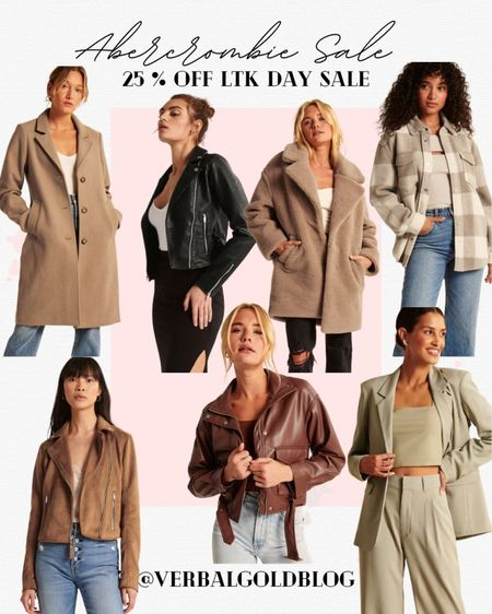abercrombie ltk sale - abercrombie sale - abercrombie jackets - fall jackets - fall outfits women - work blazer - blazers for work - moto jacket - shackets - shirt jacket - faux leather jacket - vegan leather - teddy coat - fuzzy coats - trench coat - nyc outfits - early gifting sale best sellers - fall fashion trends - look for less - splurge vs save jackets   #LTKSale #LTKunder100 #LTKHoliday