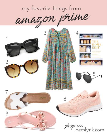 Things I'm loving from Amazon right now 💕 I wish I could say this is all I've ordered from amazon this year but it's just a little sliver. 🤷♀️ here are my favorite things to order on amazon: 1. Sunglasses 🕶: I lose almost every pair I buy, so I'm not about to spend more than $25 on glasses. The black aviators are only $10! 2. Books 📚: I only buy how to books on amazon bc I like to support my local book stores for fiction reads. The Home Edit totally changed the way I think about organizing my house, and I've since helped my mother in law get rid of over 60 BAGS of things in her house she never used!!! 3. Shoes 👠: these sandals are all under $25, but amazon is also a partner with Zappos, so I get faster delivery on really great quality ASICS running shoes. .  Shop your screenshot of this pic with the LIKEtoKNOW.it app or visit http://liketk.it/2CkDx for all my product links! #liketkit @liketoknow.it #LTKfit #LTKhome #LTKunder50