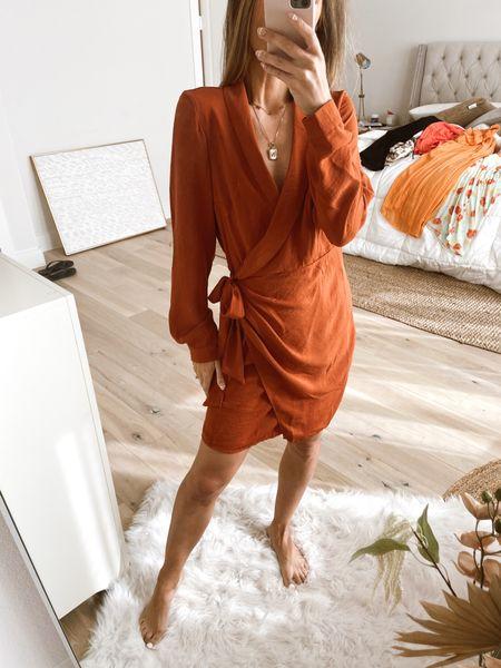 This rust wrap dress 👏🏼👏🏼👏🏼 tts   #LTKstyletip #LTKunder100 #LTKsalealert