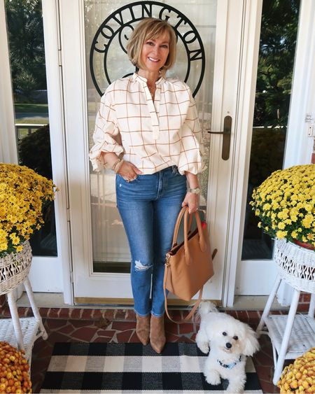 This $20 blouse is perfect for fall and is available in all sizes! Loving this leather tote too. Has a really pretty coral lining that is perfect for the season. Fall Style, fall fashion, Target style   #LTKSeasonal #LTKstyletip #LTKunder50