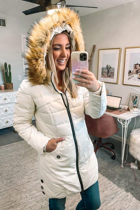 Cozy warm coat runs true to size and the faux fur is removable @liketoknow.it #liketkit http://liketk.it/3i0tD #LTKtravel #LTKsalealert #LTKunder100