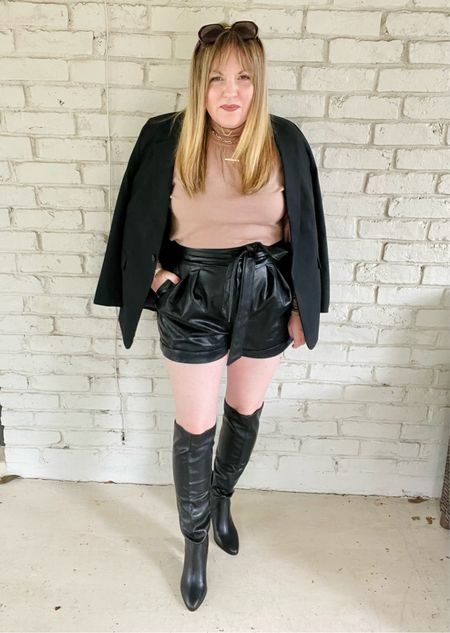 Blazer, mock turtleneck sweater, faux leather shorts, knee high boots  #LTKstyletip #LTKworkwear #LTKunder50