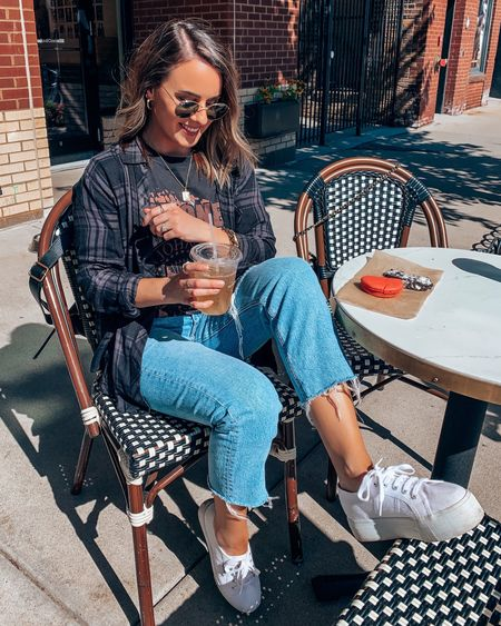 Fall transition fashion fall outfits graphic tee casual outfit sunglasses  — Size up one in tee and flannel for oversized fit!  #LTKSale #LTKshoecrush #LTKunder100