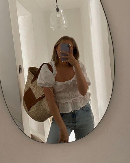 Summer top, white summer top, Levi's jeans, basket bag @liketoknow.it #liketkit http://liketk.it/3mv8v #LTKeurope #LTKunder100