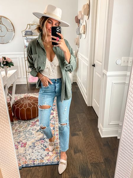 Code Hollie20 for 20% off shacket, bodysuit and jeans