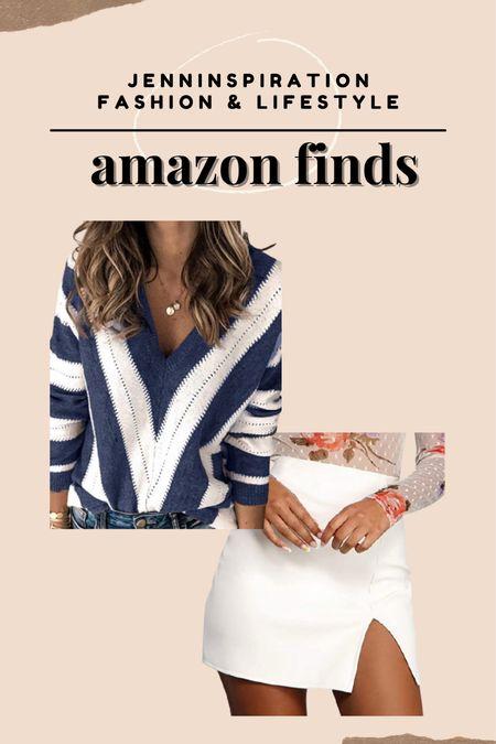 Best sellers on Amazon! Under $35. Pullover knit sweater and white mini skirt from Amazon  #LTKSeasonal #LTKHoliday #LTKstyletip