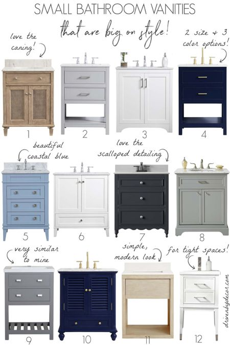 Looking for a small bathroom vanity that's big on style? Love these! Most come in several color options! (Home decor ideas)  #LTKsalealert #LTKhome