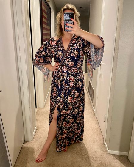 This is definitely not supposed to be a house robe, but when you've been quarantined for 3 1/2 months with no end in sight, a wrap dress becomes a very fancy robe 🙌 http://liketk.it/2RujS #liketkit @liketoknow.it