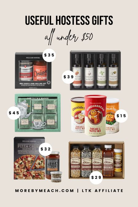 Hostess Gifts Under $50 from Williams Sonoma. 🎅🏼 food gifts, foodie gifts, BBQ gift set, pizza lover gift set, tea lover gift set, popcorn gift set, food gift sets, flavored pancake mix   #LTKHoliday #LTKGiftGuide #LTKunder50